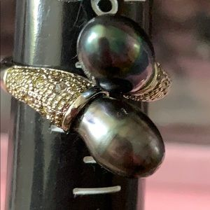 Tahitian pearl foe fashion ring silvertone euc 6.5